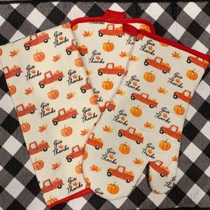Farmhouse red truck fall towel set